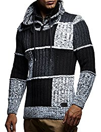 94490001 Leif Nelson pullover zwart grijs vlakken