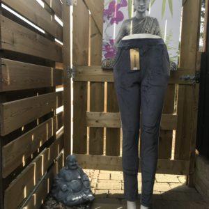 Strech pantalon velours grijs met streep