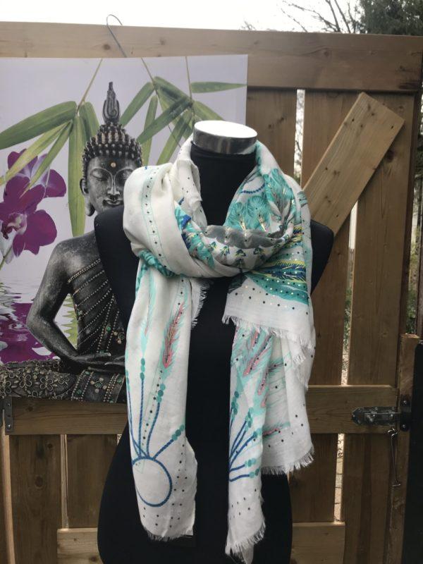 langwerpige boho style shawl groen met creme