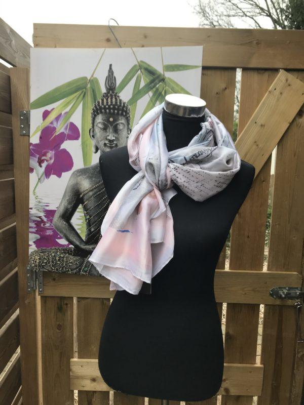 elegante stijlvolle langwerpige shawls rose grijs