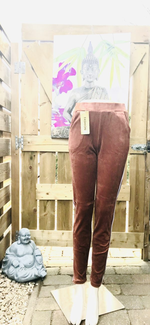 strech pantalon velours terracotta flamed