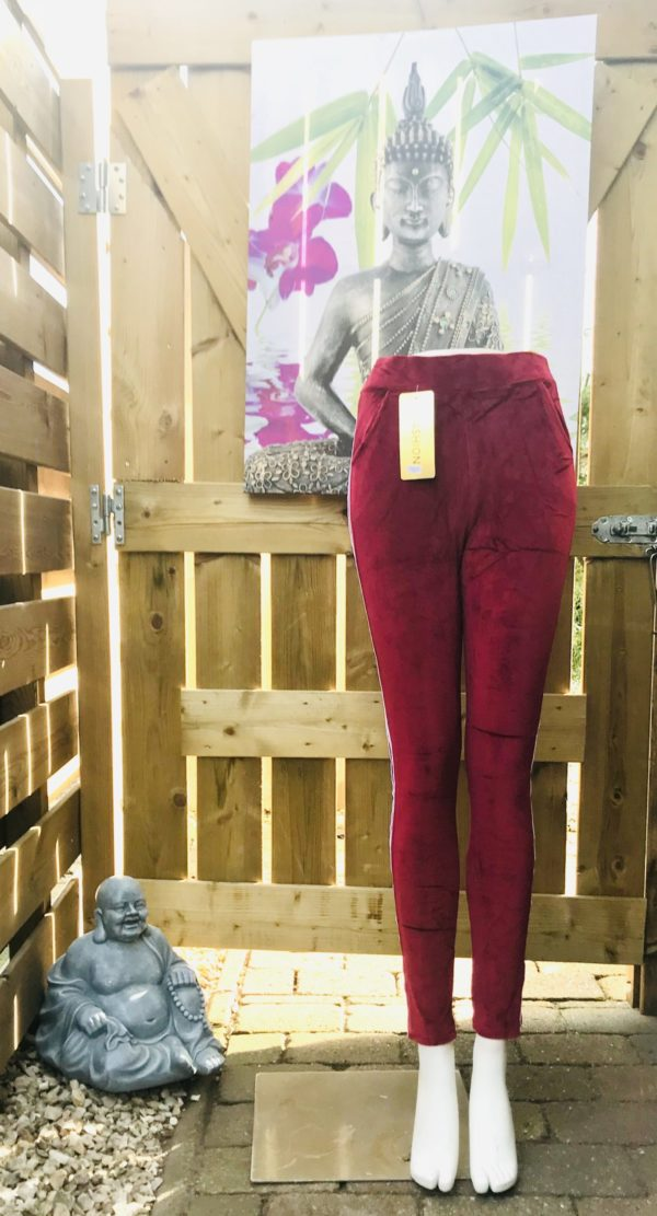 strech pantalon velours met streep vuursteen rood