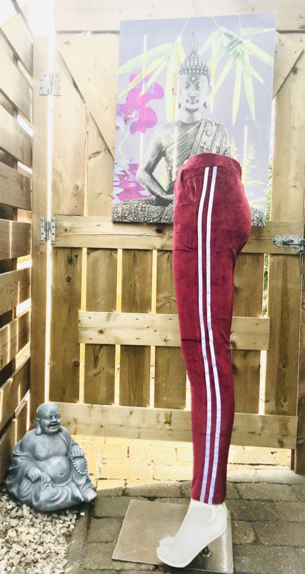 strech pantalon velours met streep vuursteen rood a
