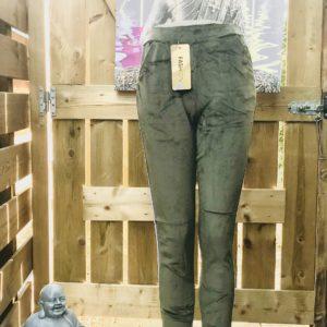 Strech pantalon velours olive met streep