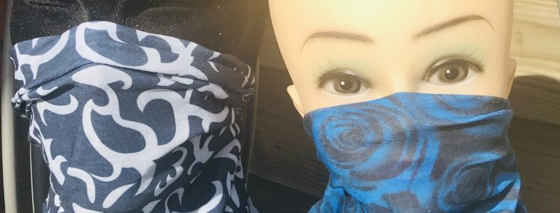 Multiscarf div prints ook geschikt voor monddoek zwart/blauw roos