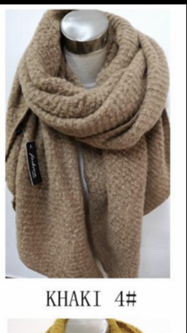 2115003 mooie lange khaki shawl