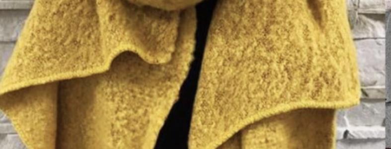 2119000 mooie lange shawl oker